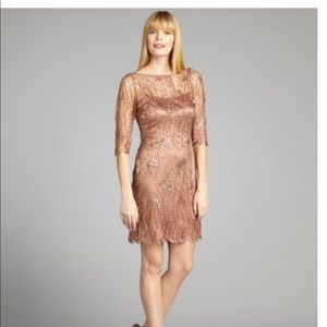 Kay Unger copper weber lace sequinembellisheddress